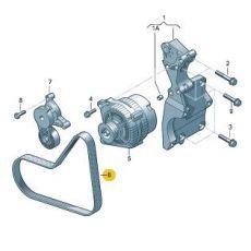 Ремень генератора Фольксваген Т5 с кондиционером AXB,AXC,BRR,BRS 2006 VAG 038903137S