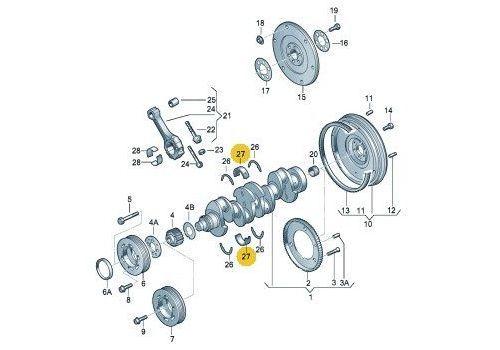 Вкладыши коренные комплект AXCAXB STD Kolbenschmidt 77553600