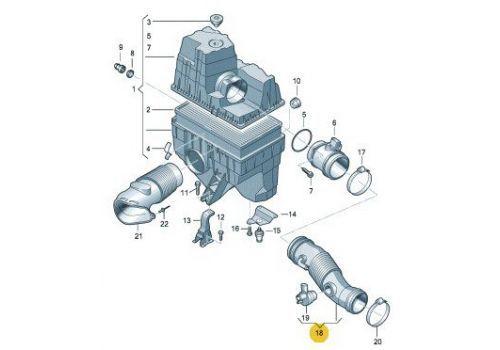 Корпус воздушного фильтра 2.0 трубка VAG 7H0129684