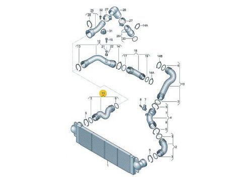 Охладитель наддува воздуха Шланг AXB,AXC,BRR,BRS VAG 7H0145709B