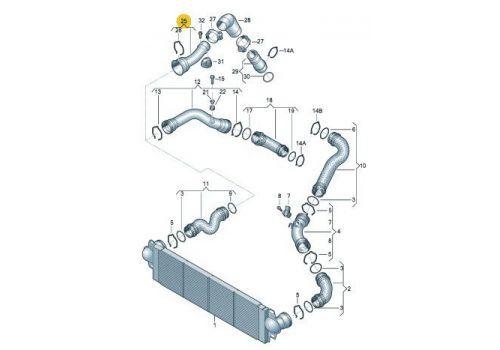 Охладитель наддува воздуха Шланг BNZ,BPC VAG 7H0145762E