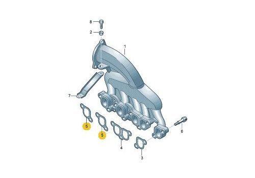 Прокладка впускного коллектора AXD AXE BJL 2.5 (надо 2 штуки) VAG 070129717B