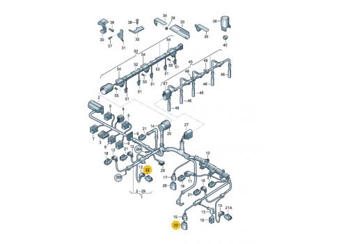 Корпус плоского разъема полукруглый 14 контактов АКП VAG 6X0973717