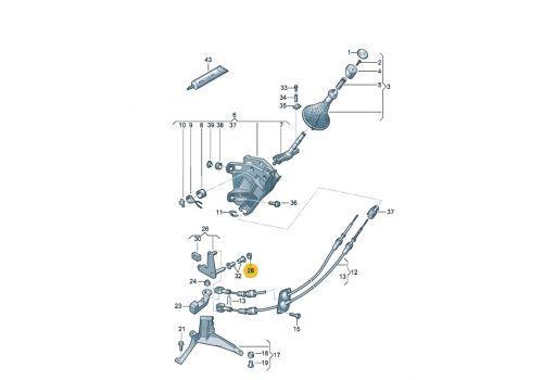 Рычаг переключения передач промежуточный фиксатор VAG 1K0711522